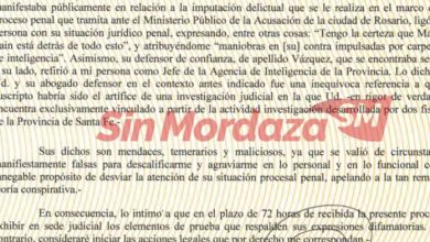 """Photo of Sain intimó al senador Traferri para que presente pruebas que respalden """"sus expresiones difamatorias"""""""